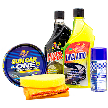 Kit Sun Car Must (lava Auto/limpa Pneu/cera One/silicone) Un